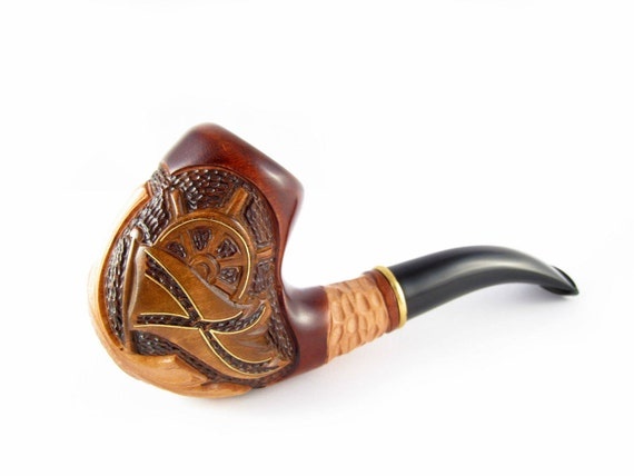"""Tobacco Pipe """"PIRATE PIPE"""" Smoking Pipe Tobacco Wooden pipes Wood Pipe/Pipes Marine Collection Carved Pipe"""