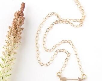 Gold Dainty Arrow Necklace - Sideways Arrow Necklace - Gold Layering Necklace - Arrow Necklace - Gold Minimalist Arrow Necklace