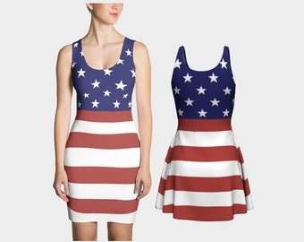 American Flag Dress - Fit & Flare - 2 Styles