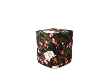 Oriental Cranes Fabric Tissue Box Cover, Asian Style, Cube Kleenex Box Cover, Bedroom-Bathroom Home Decor, Handmade by RedLeafStitchCraft