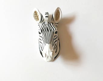 Custom Small Zebra painted ANY COLOR or color combination Small Faux Taxidermy Zebra head wall mount wall hanging nursery office unique gift