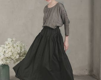 black linen skirt, maxi linen skirt, maxi skirt, ruffle linen skirt, black skirt, deep pocket skirt, pleated skirt, cocktail skirt