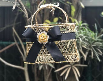 gold flower girl basket with black ribbon and gold brooch gold junior bridesmaid basket or  purse