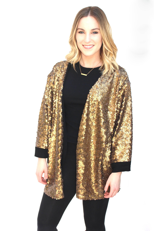 Gold Sequin Kimono Free Size Kimono Handmade Sequin Duster