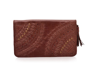 PEACOCK. Brown leather wallet / leather purse / brown wallet / travel wallet / boho wallet / bohemian. Available in different leather colors