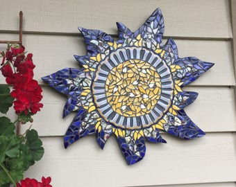 Mosaic Sunflower Garden Wall Hanging Garden Art Pique Assiette Blue Yellow