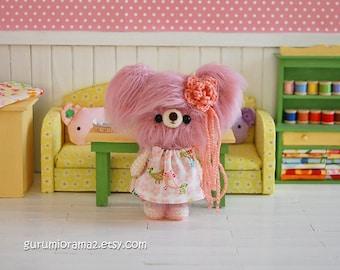 rose pink fuzzy bear, amigurumi kawaii crochet bear, stuffed animal toy bear, blythe doll companion bear