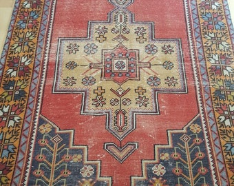 Vintage Oushak Rug / 4 by 9 / Muted / Pastel / Copper-Mustard / Boho / Low-Pile / Distressed Rug - 104 in x 49 in