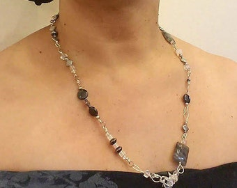 Silver, crystal, labradorite hand crafted link necklace,- convertable to lariat