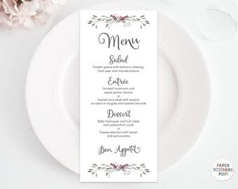 Wedding Menu Template, Rosebud Menu Card, Rustic Menu, Dinner Menu Template. Woodland Menu, Printable Menu Card, Rose Wedding Decor