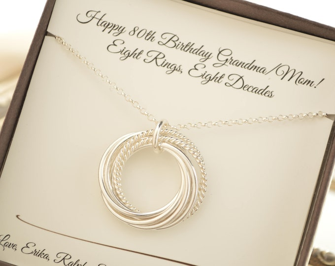 80th Birthday necklace for mom, 8 Interlocking rings, 8th Anniversary gift for wife, Family of eight, Eight  best friends gift
