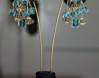 Vintage Designer Couture High End Blue Iris Glass Japan Cluster Dangling Earring E2