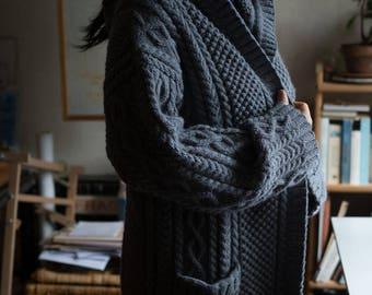 long aran jacket - celtic jacket - hooded jacket  - irish cable jacket - handknit sweater - women's handknit jacket - handknit cable texture