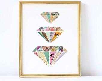 Diamonds - Colorful Art Print -  Framable Print Wall Art