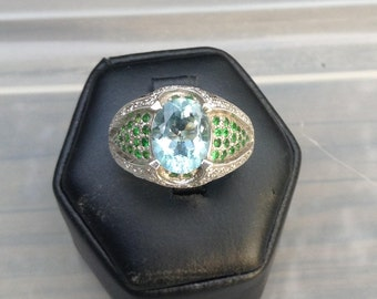 18K White Gold Aquamarine, Diamond and Tsavorite Ring
