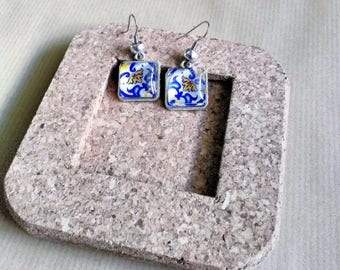 Portuguese tile earrings, Azulejo Replicas, Blue Azulejos, Blue and Yellow, Portuguese jewelry