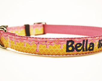 """Personalized Dog Collar / Ice Cream / Pets / Adjustable Dog Collars / Made to Order / 1"""" wide"""