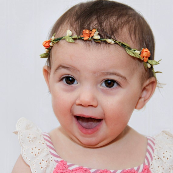 Baby Girl Crown, Baby Headband, Flowers Crown, Flower headband, Orange Headband, Infant Headband, Flowers Headband, Birthday Crown