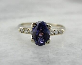 Vintage Purple Sapphire and Diamond Engagement Ring, Sapphire White Gold Ring, Sapphire Engagement Ring, Sapphire Anniversary Ring N6VRUT-R