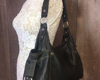Fossil Black Leather Shoulder Handbag Purse | U