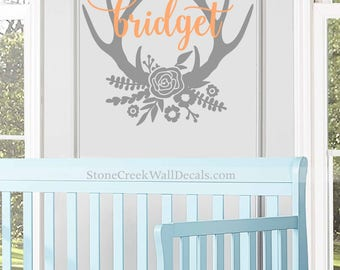 Floral Antler Name Decal Wall Decal Floral Antler Decal Girls Nursery Decal Rustic Decal Name Flowers Antlers Girls Nursery Trendy Wall N081