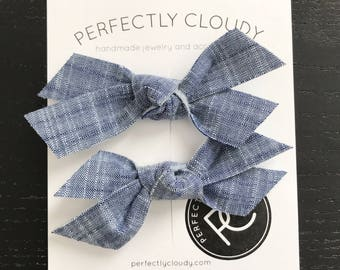 CHAMBRAY || pigtail bows - baby bows - girl hair clip - rifle paper bow - felt bow - bow aligator clip