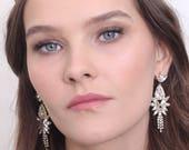 Crystal Bridal earrings, Rose gold earrings, Bridal jewelry, Chandelier earrings, Wedding earrings, Crystal earrings, Statement earrings