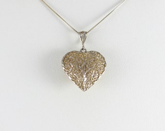 Sterling Silver Large Filigree Heart Pendant