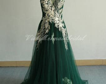Unique open back emerald Wedding Dress, aline Tulle Lace wedding dress, Bohemian Wedding Dress, Prom dress with gold lace