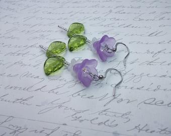 Purple and green flower earrings