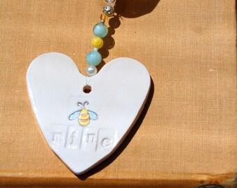 Be Mine Heart, Hand Painted & Decorated, Bees, Girlfriend, Boyfriend, Bride, Groom, Engagement, Weddings, Valentine, Anniversary, Wedding