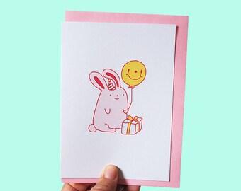 Cute Greeting Card, Cute Rabbit Card, Bunny Lover Card, Rabbit Lover Card, cute gift card, quirky greeting card, pey chi, gift card, card