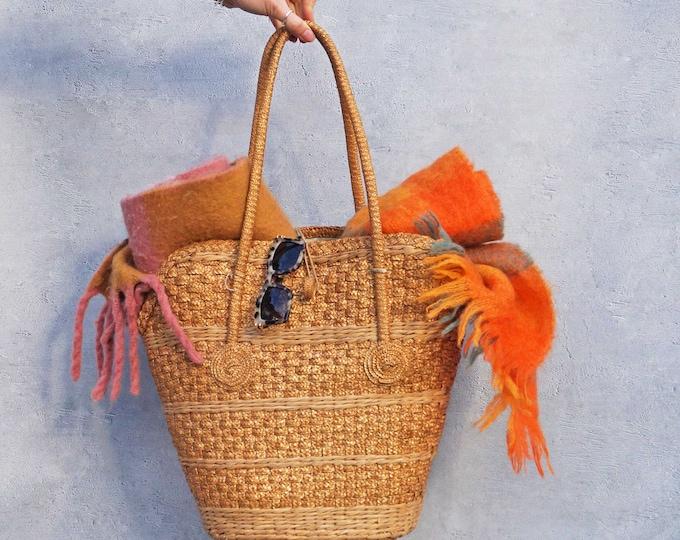 Vintage Straw Bag, Bohemian Straw Bag, Straw Market Bag, Round Straw Bag, Beach Bag, Crochet Boho Bag, Straw Purse, Shoulder Bag, Summer Bag