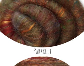 """Hand carded batt """"PARAKEET"""" with mulberry silk - spinning felting weaving - made to order"""