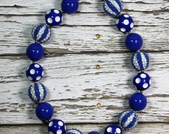 Royal Blue Multi Pattern Bead Handmade Chunky Bead Bubblegum Boutique Necklace