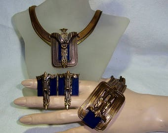 Impressive vintage Ermani Bulatti full designer necklace set from the 1970s-1980s.