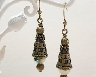 Antique Brass Earrings, Dangle Earrings, Crystal Earrings, Women's Earrings, Gift for her