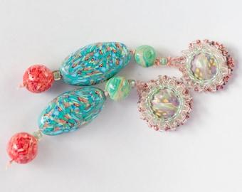 Earrings Novelove #Orange-turquoise Pendants Beadsearrings #original Handmade Earrings #Lolitafashionstyle #a unic piece well crafted
