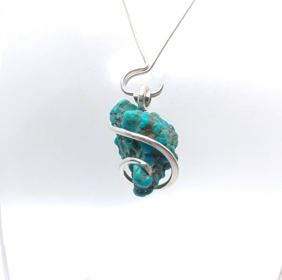 Raw Turquoise Pendant | Turquoise Necklace | Silver Pendant | Morenci Turquoise Jewelry | December Birthstone | Gift for Her | Raw Stone