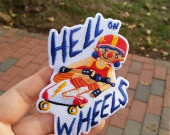 Hell on Wheels Roller Derby Girl Embroidered Patch