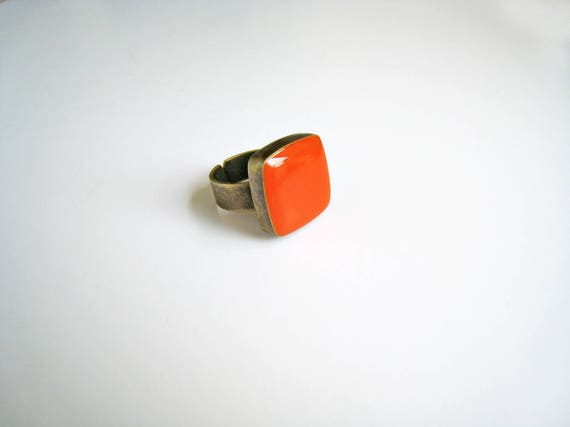Orange ring, bronze tangerine orange statement ring, sanguine orange resin ring, modern minimalist jewelry, color block summer jewelry