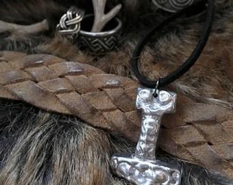 MJÖLNIR * Rustic Thor's hammer pendant, mjolnir, viking, norse, necklace, pewter