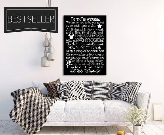 Wir tun DISNEY Haus Regeln Zeichen Verkauf Kunstdruck Leinwand