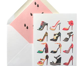 "Shoe Addict Birthday Card, Greeting Cards, High Heels, Louboutins, Shoes, Fashion, Lined Envelope, Handbags, Fashionistas, 5"" X 7"", A7"