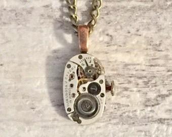 Steampunk Watch Movement Necklace,  Steampunk Jewelry, Elgin 535 USA 19 Jewels Spiral Gears, Repurposed Jewellery Gift Exchange Ideas