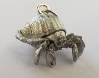 Silver Squishy Mini Hermit Crab Necklace
