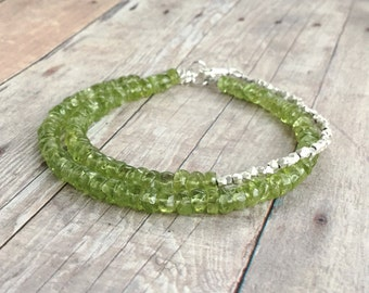 Peridot Bracelet Set / August Birthstone Jewelry / Green Natural Stone Bracelet / Fine Sterling Silver Bead Bracelet