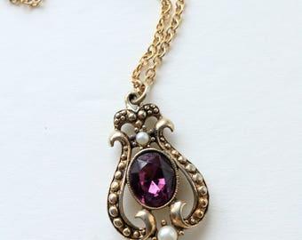 Purple Crystal Pendant - Vintage Gold Pendant - Pearl Pendant - Avon Purple Pendant