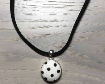 Black polka dots on white-Fabric Covered Button necklace/pendant /Faux leather necklace/Circle pendant/Button jewelry/Polka dot