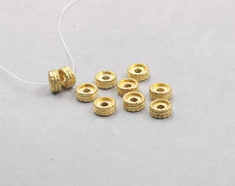 10Pcs, 10mm Raw Brass Wheel Beads hole size 2.5mm , GY-TQT3729